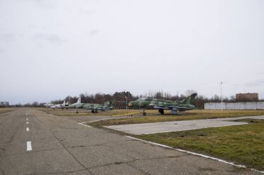 airfield of the fighter aviation. Planes are parked.