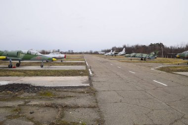 Krasnodar, Russia - February 23, 2017: The airfield of the fighter aviation. Planes are parked