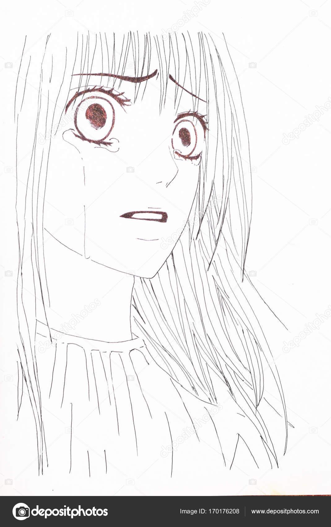 Kresleni Ve Stylu Anime Obrazek Divky Na Obrazku Stock Fotografie