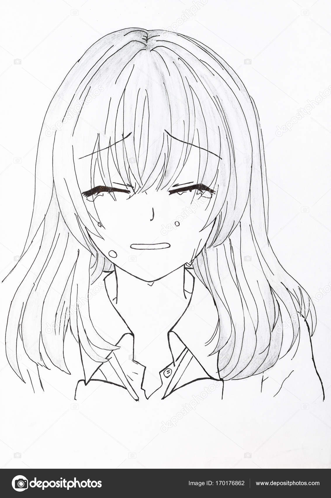 Disegno in stile anime foto di una ragazza nella foto - Immagine di una ragazza a colori ...