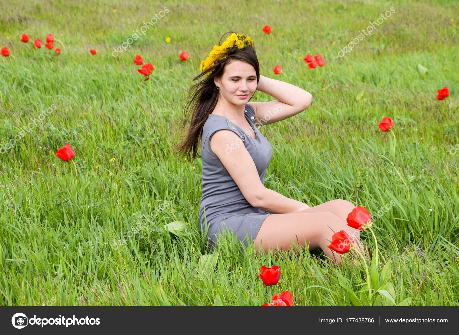 Beautiful Fairy Young Girl Field Flowers Tulips Portrait Girl