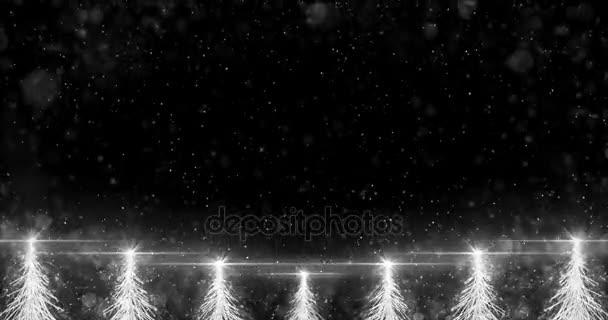 Animated White Christmas Fir Tree Star background seamless loop 4k resolution.
