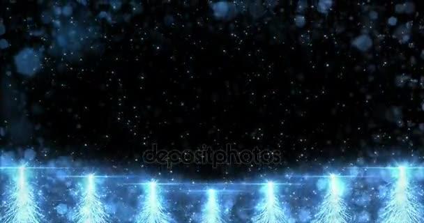 Animovaný Blue Christmas Fir Tree Star pozadí bezešvé smyčka 4k rozlišení.