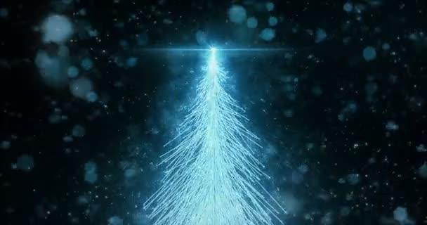 Animált karácsonyi fenyő fa csillag háttér varrat nélküli hurok a 4 k felbontás