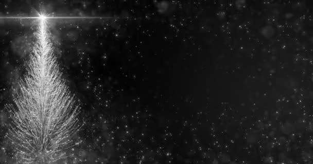 Animált fehér karácsonyi fenyő fa csillag háttér folyamatos hurok 4k felbontás