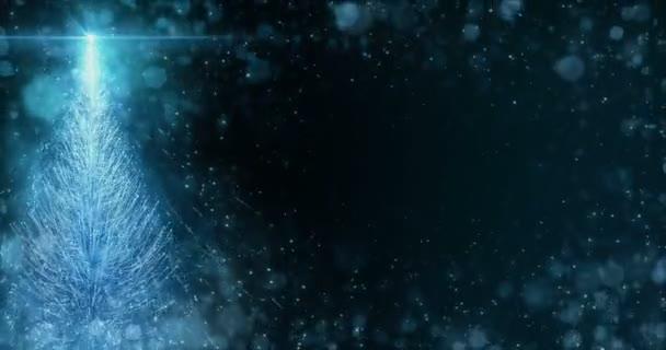Animált kék karácsonyi fenyő fa csillag háttér folyamatos hurok 4k felbontás.