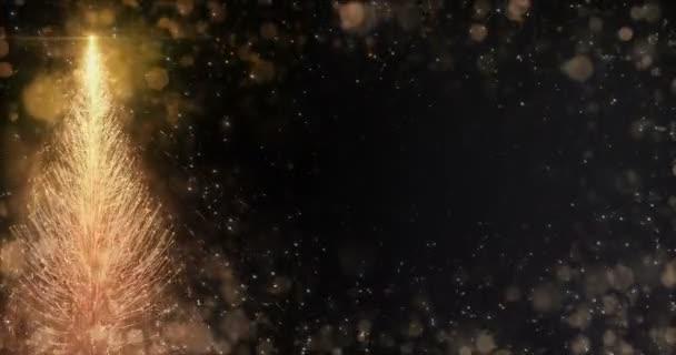 Animovaný zlatý vánoční borovice strom hvězda pozadí bezešvé smyčka 4k rozlišení
