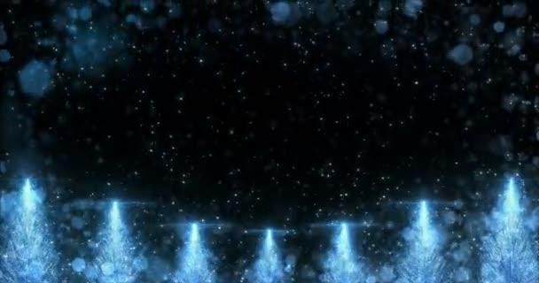 Animált kék karácsonyi fenyő fa csillag háttér folyamatos hurok 4k felbontás