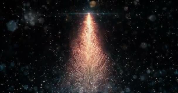 Animovaný pomeranč vánoční borovice strom hvězda pozadí bezešvé smyčka 4k rozlišení.