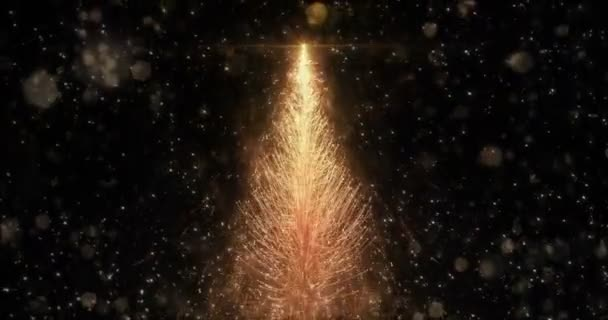 Animált arany karácsonyi fenyő fa csillag háttér folyamatos hurok 4k felbontás.