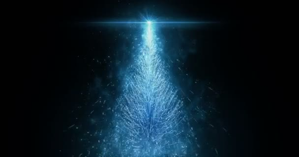 Animated Blue Christmas Pine Tree Star isolated seamless loop in 4k