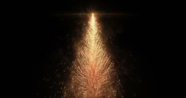 Animovaný zlatý vánoční borovice strom hvězda bezešvé smyčka 4k