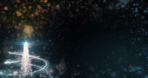 Animated Orange Christmas Fir Tree Star background bokeh snowfall 4k resolution