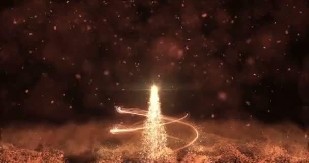 Animovaný Zlatá hvězda strom jedle Vánoční pozadí bokeh sněžení 4k rozlišení