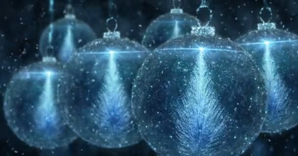 Blue Christmas Balls Bauble Ornament with Fir Tree background loop 4k