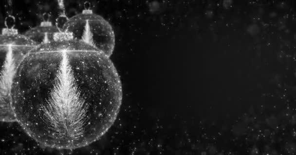 Bianco Natale palle Bagattella ornamento con ciclo di abete sfondo 4K