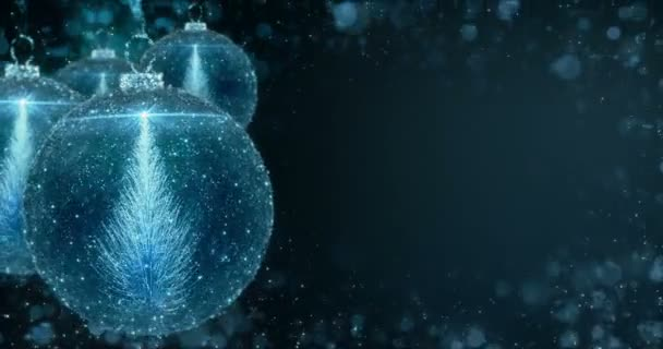 Kék karácsonyi labdák csecsebecse dísz fenyő háttér hurok 4k felbontás