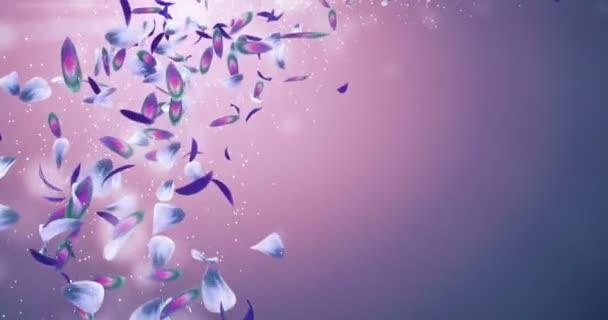 Létající romantické fialové zelená modrá orchidej květina lístků zástupný symbol smyčka 4k