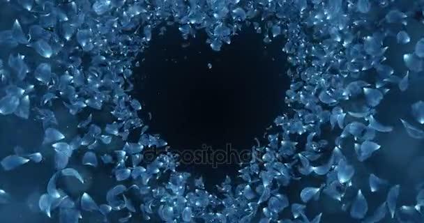 Blue Rose Flower Petals In Heart Shape Background Placeholder Loop 4k