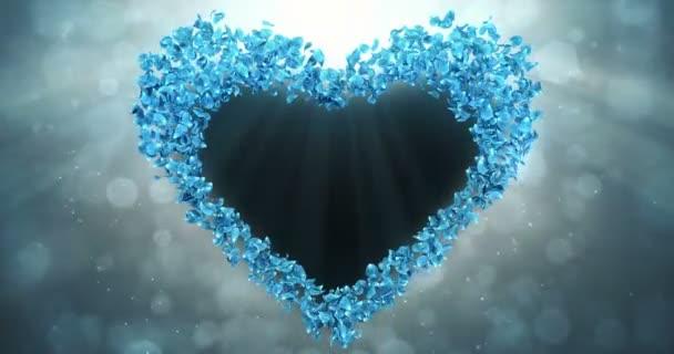 Kék Rózsa virág szirmait a szív alakú alfa Matt hurok helyőrző 4k