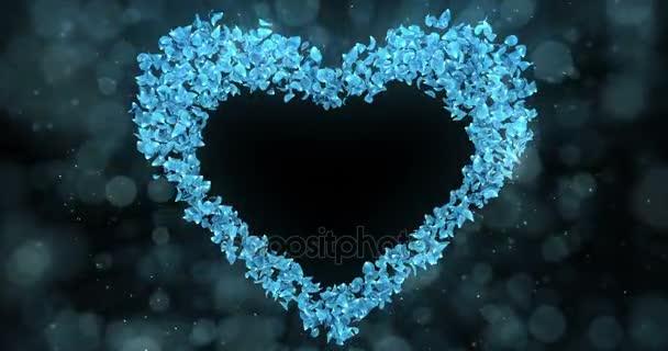 Blue Rose Flower Petals In Heart Shape Alpha Matte Loop Placeholder 4k