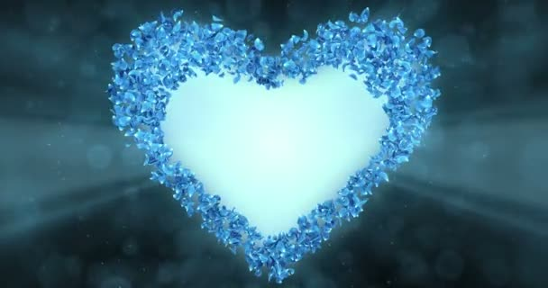 Blue Rose Flower Petals In love Heart Shape Background Placeholder Loop 4k