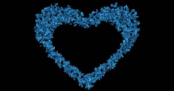 Kék Rózsa virág szirmait a szív alakú alfa Matt helyőrző hurok 4k