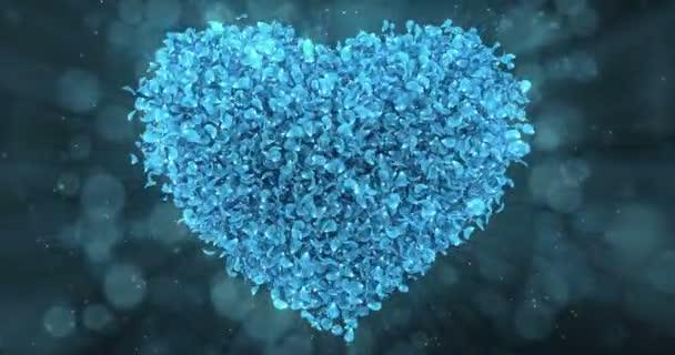 Kék Rózsa virágszirmok szép szív alakú háttér Loop 4k