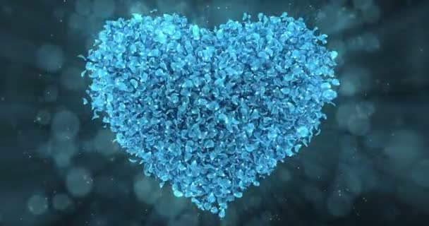 Blue Rose Flower Petals In Lovely Heart Shape Background Loop 4k
