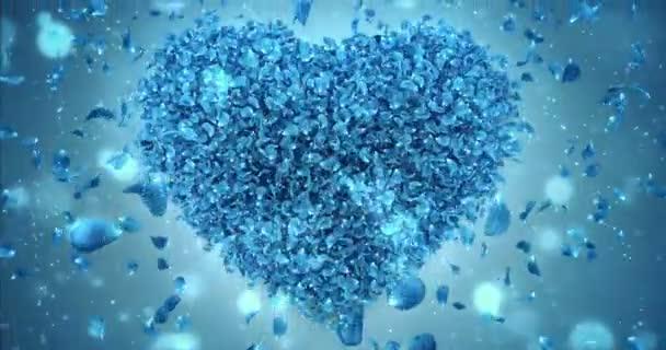 Csökkenő kék Rózsa virág szirmai szép szív alakú háttér Loop 4k