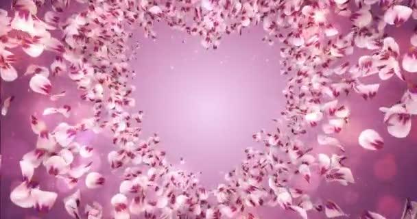 Pink Rose Sakura Flower Petals In Heart Shape Background Placeholder Loop 4k