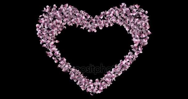 Pink Rose Sakura virágszirmok szív alakú alfa Matt helyőrző hurok 4k