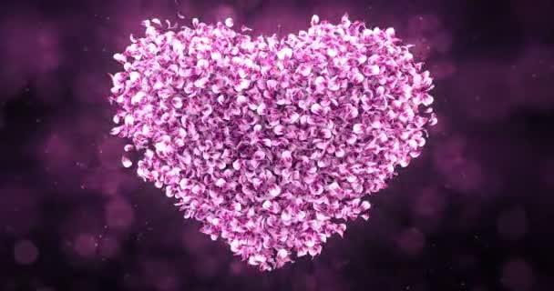 Petali Di Rosa Rosa Fiore Di Sakura Bel Cuore Forma Sfondo Loop 4k