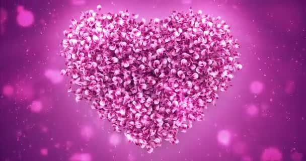 Petales De Rose Rose Sakura Fleur Fond Forme Coeur Belle Boucle 4k