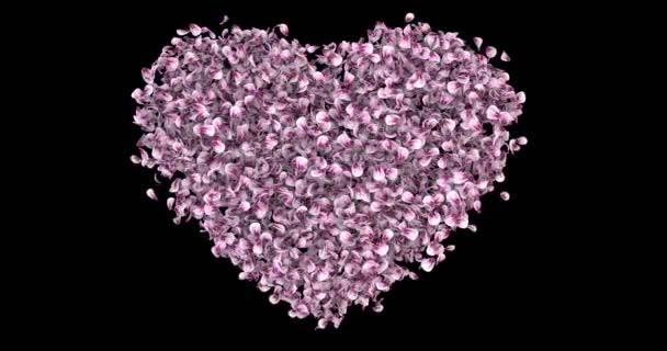Romantikus Pink Rose Sakura virágszirmok szív alakú alfa Matt hurok 4k