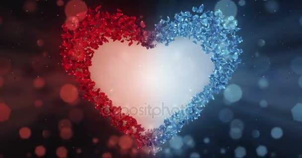 Red Blue Rose Flower Petals In Heart Shape Alpha Matte Loop Placeholder 4k