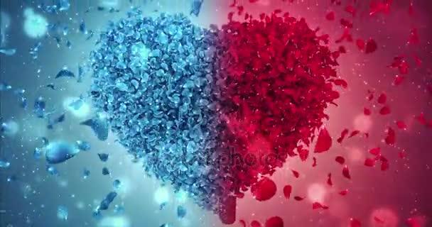 Red and Blue Rose Flower Falling Petals Love Heart Wedding Background Loop 4k