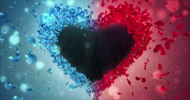 Piros kék Rózsa virág szirmai a szív alakú alfa Matt hurok helyőrző 4k