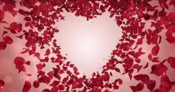 Red Rose Flower Petals In love Heart Shape Background Placeholder Loop 4k