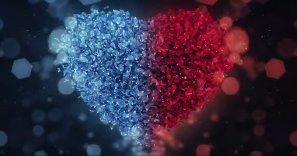 Red and Blue Rose Flower Petals In Lovely Heart Shape Background Loop 4k