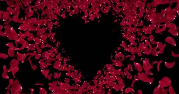Piros rózsa virágszirmok szív alakú alfa Matt helyőrző hurok 4k