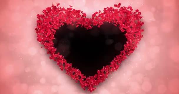 Piros rózsa virágszirmok szív alakú alfa Matt hurok helyőrző 4k