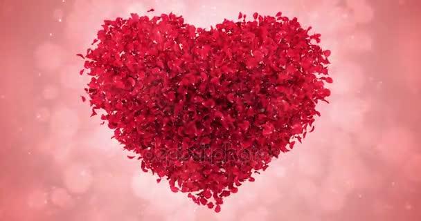 Petali Di Rosa Rossa Fiore Nel Bel Cuore Forma Sfondo Loop 4k