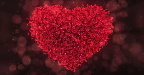 Piros rózsa virágszirmok szép szív alakú háttér Loop 4k