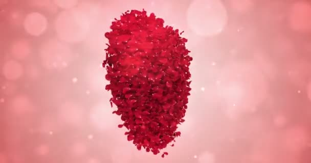Rotating Red Rose Flower Petals In Lovely Heart Shape Background Loop 4k