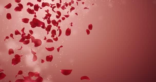 Létající romantické červené růže okvětní pádu zástupný symbol smyčka 4k
