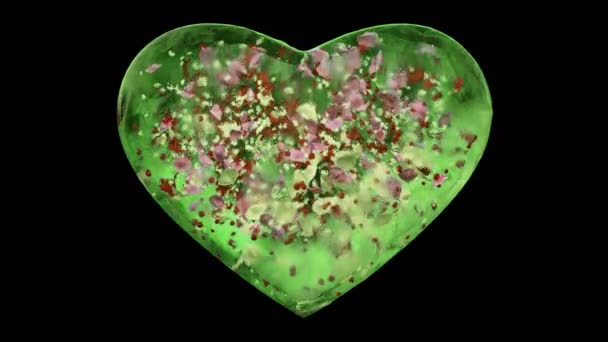 Green Ice Glass Heart with snowflakes and colorful petals Alpha Matte Loop 4k