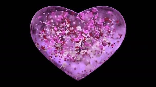 Růžový LED skleněné srdce s sněhové vločky a barevné lístky alfa matný smyčka 4k