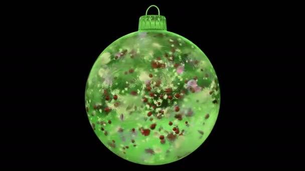 Vánoční rotující Green Ice skleněná cetka dekorace barevné alfa matný smyčka