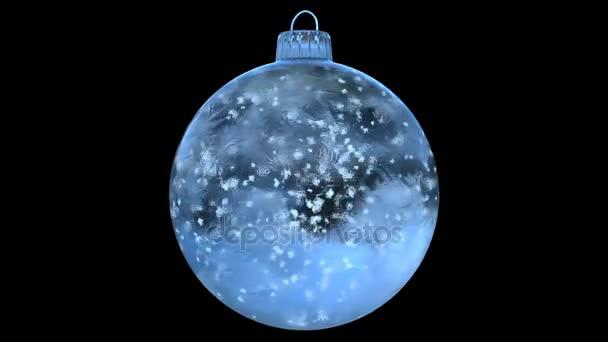 Vánoční rotující Blue Ice skleněná cetka dekorace sněhová alfa matný smyčka